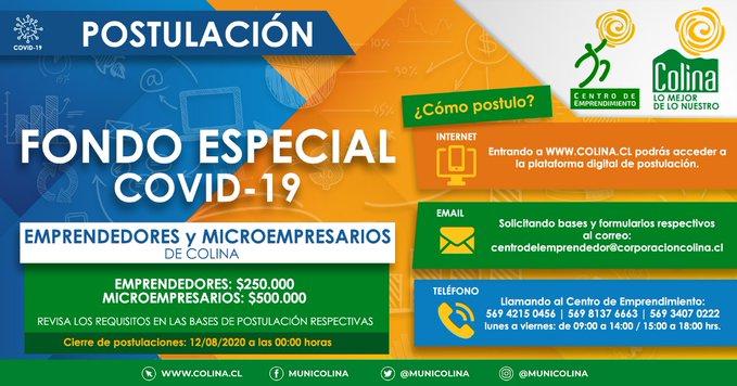 Fondo Covid 19 de la Municipalidad de Colina: ¡Ya puedes postular!
